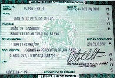 Identidade de Maria Olívia da Silva no Pedra Enxuta