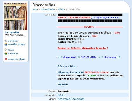 Imagem da comunidade Discografias, acusada pela APCM de ser a maior difusora de música ilegal no Orkut