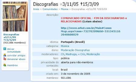 Imagem da comunidade Discografias (já com o seu epitáfio), acusada pela APCM de ser a maior difusora de música ilegal no Orkut