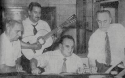 Anacleto Rosas Jr., Teddy Vieira, Arlindo Pinto e Ado Benatti no Pedra Enxuta