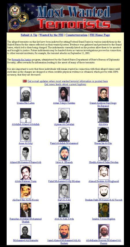 FBI Most Wanted Terrorists - Terroristas mais Procurados no Pedra Enxuta